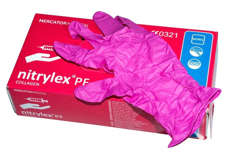 b19225dca610be Rękawiczki nitrylowe RÓŻOWE , bezpudrowe z kolagenem, rozmiar S op. 100sztuk